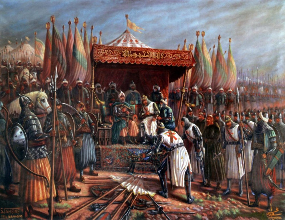 saladin-and-guy-de-lusignan-after-battle-of-hattin-in-1187-during-the-crusades